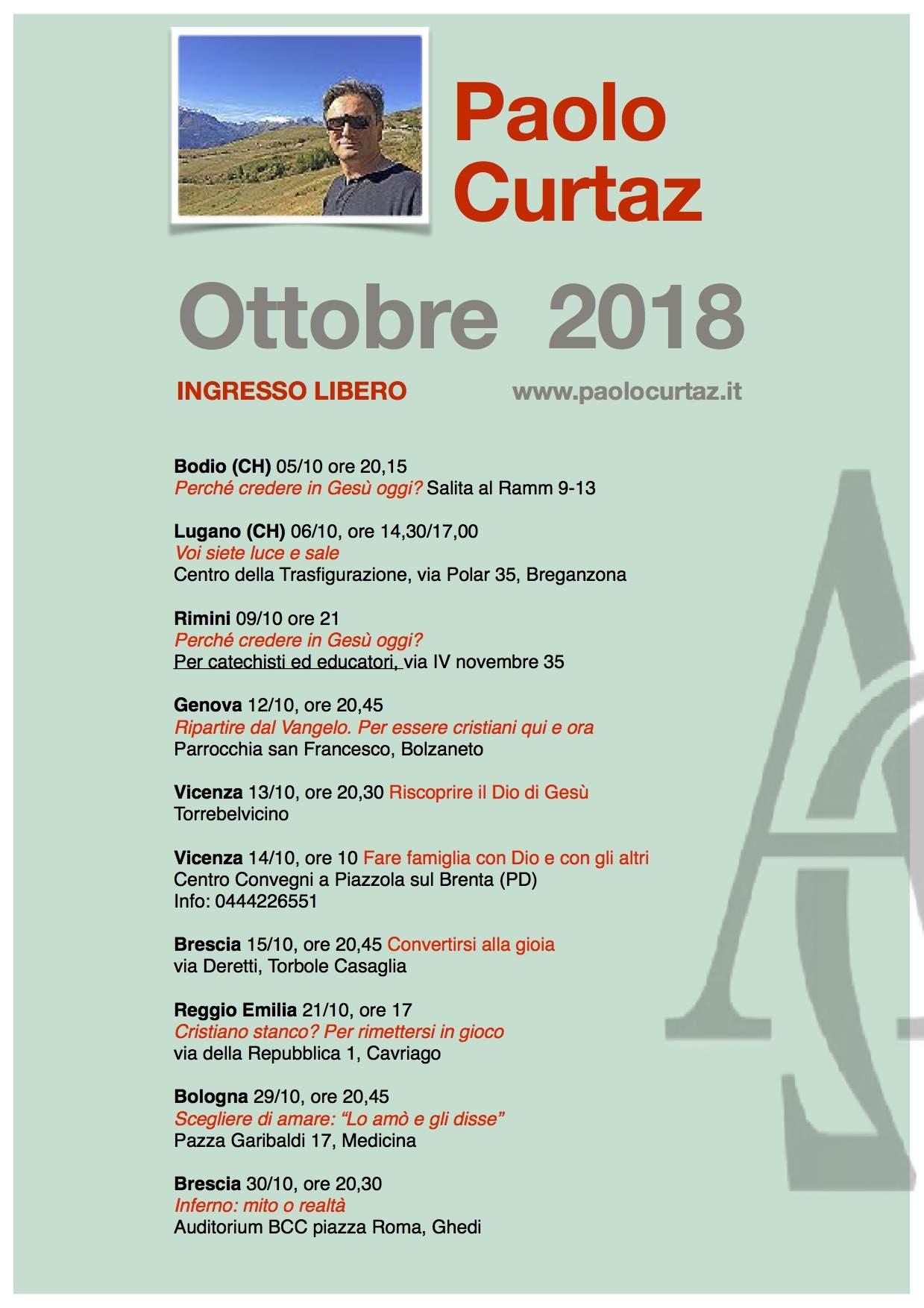 conferenze ottobre 2018 - paolo curtaz